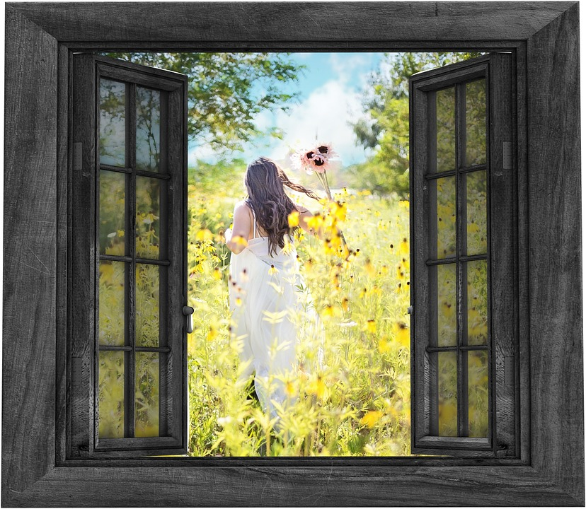 Woman flowers window
